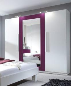 Bílá šatní skříň se zrcadlem Veria bl