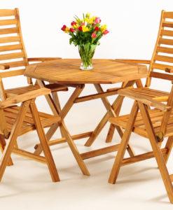 Dřevěný zahradní stůl a 4 židle Kirk 2