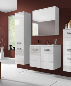 Koupelnový nábytek Demario - bílá / bílý lesk
