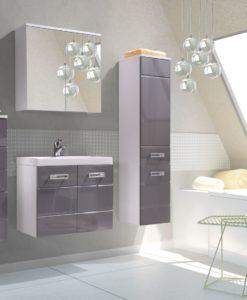 Moderní sestava koupelnového nábytku Demario - bílá  / šedý lesk
