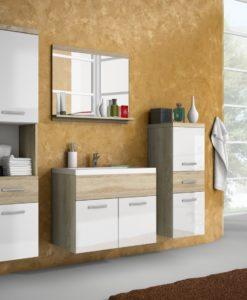 Nábytek do koupelny Horace 1 - dub sonoma / bílý lesk