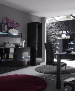 Obývací sestava Astor 3 – provedení wenge + černé sklo