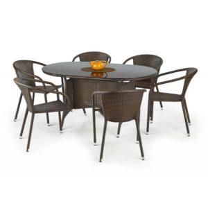 Oválný zahradní stůl Navon - tmavě hnědý