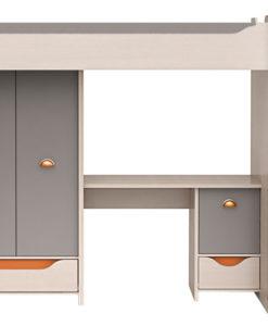Patrová postel Orango - dub světlý belluno / šedá