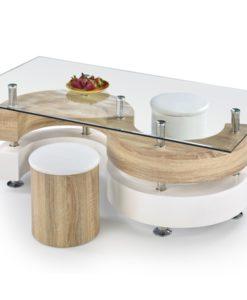 Skleněný konferenční stolek s taburety Ronen 4
