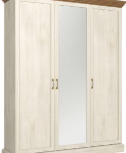 Šatní skříň se zrcadlem Meryl 3 - borovice nordic / dub divoký
